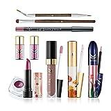 IGEMY Eine Packung mit 10 Stück Make-up Set, Concealer Eyeliner Pinsel Lidschatten Pulver Lippenstift Make-up Kit (bunt)