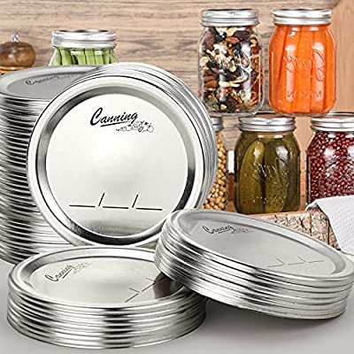 48-Count, Regular Mouth Canning Lids for Ball, Kerr Jars - Split-Type Metal Mason Jar Lids for Canning - Food Grade Material, 100% Fit & Airtight for Regular Mouth Jars - PATENT PENDING