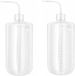 2PCS White Plastic Safety Squeeze Wash Bottles Bent Tip Oil Liquid Storage Holder Container Measuring Jars Wash Cleaning Soap Holder Can Pot Gardening Tools for Medical Label Supply(1000ml/32oz)