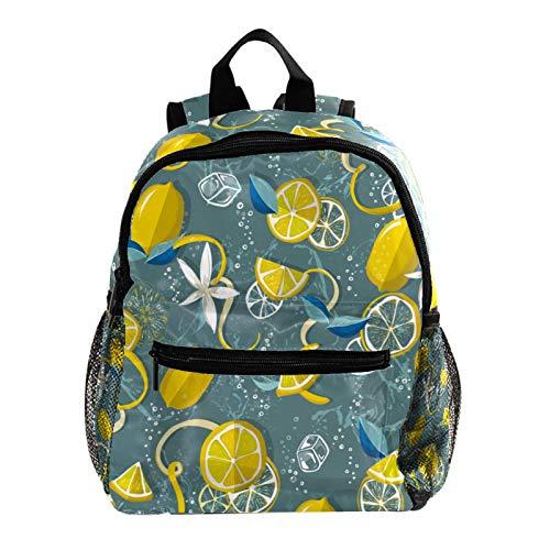 Mochila para niñas Fruta de Flor de limón Mochila Kindergarten Mochila para niños Mochila Linda Kindergarten Mochila Infantil para niños 25.4x10x30 CM