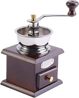 Manual Coffee Grinder, Retro Coffee Bean Hand Grinder Antique Mini Hand-Crank Roller Drive Grain Burr Mill Coffee Machine(Coffee)