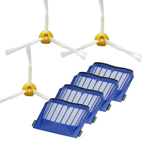 Techypro® 4 Hepa filter und 3 Kantenreinigungsbürste für iRobot roomba 585 595 600 620 650 Reinigungskit Wartungskit Bürsten Set