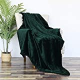 Whale Flotilla Pompom Fringe Blanket Flannel Fleece Oversized 50x70 Inch Throw Blanket Soft Cozy for Couch Sofa, Emerald Green