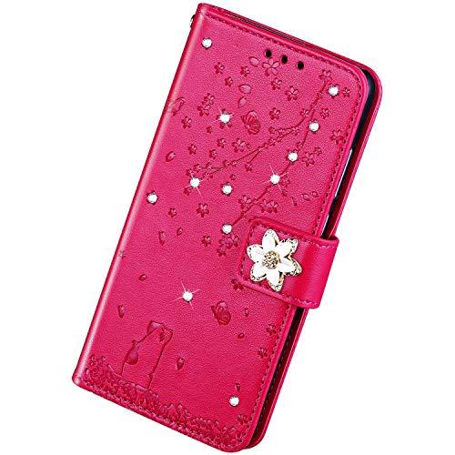Herbests Kompatibel mit Samsung Galaxy A8 2018 Hülle Leder Handyhülle Diamant Bling Strass Glitzer Kirschblüte Blumen Muster Klapphülle Brieftasche Schutzhülle Flip Wallet Case,Rose Pink