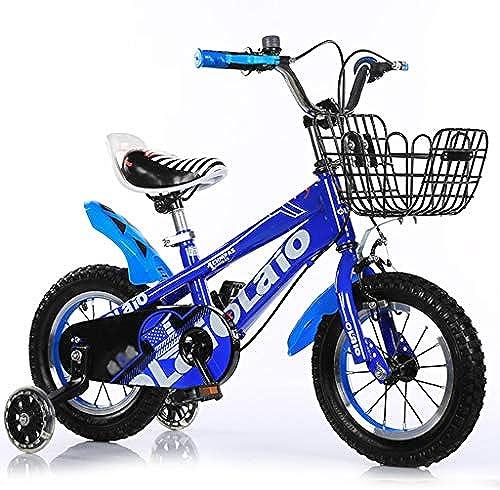 GAIQIN Langlebig Kinderfürrad für Jungen und mädchen 3-10 Jahre alt, ZWeißndbremse, betriebssicher (mit Korb) (Farbe   Blau, Größe   16inch)