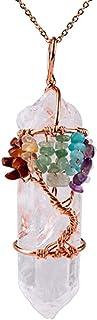 REBUY® Tree of Life 7 Chakra Gemstone Copper Wire Wrap Irregular Clear Quartz Point Crystal Pendant Necklace