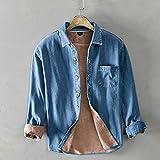 Men's Shirts Winter Men Casual Denim Shirt Cotton Solid Thicken Keep Warm Long Sleeve Tops Man Shirt Chemise XL(60-65) Kg Thickenblue