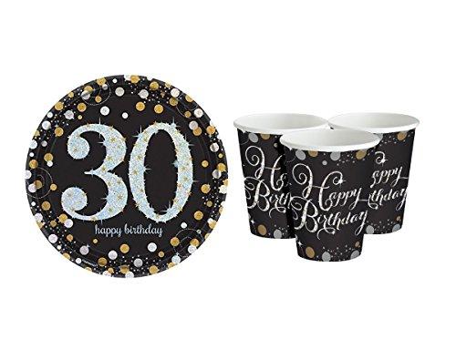 Feste Feiern Geburtstagsdeko 30. Geburtstag | 16 Teile Deko-Set Becher Teller Gold Schwarz Silber Metallic Party Deko Happy Birthday 30