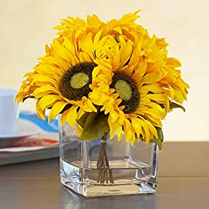Enova Home 7 Heads Silk Sunflower Arrangement Flower Centerpiece in Clear Glass Vase with Faux Water for Home Decoration