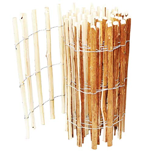 BOGATECO Staketenzaun Haselnuss Kastanie | Holz-Zaun 90 cm Hoch & 500 cm Lang | Lattennabstand 7-8 cm | Perfekt als Gartenzaun
