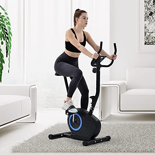 LEKER Ergometer Fitness - Bicicleta estática con sensores de pulso, 8 niveles de resistencia, sillín ajustable, peso del usuario hasta 120 kg
