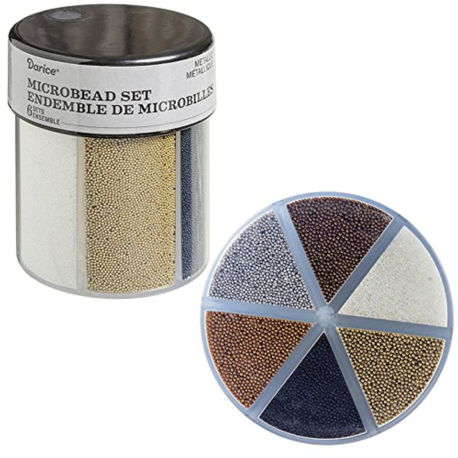 Darice 30029680 6-Color Microbeads Caddy: Metallics Beads,