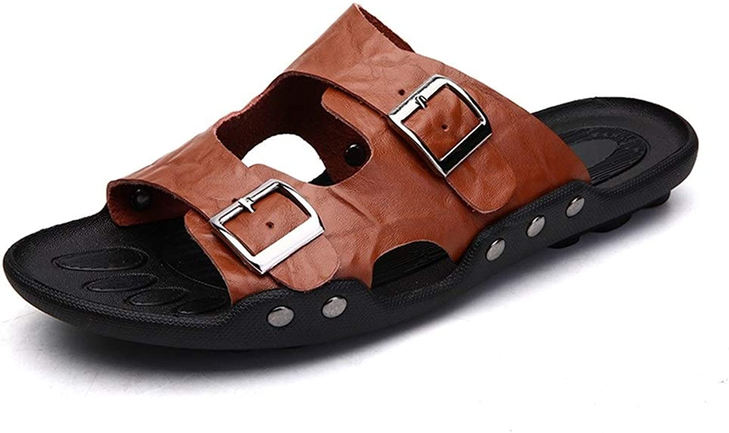 Sandals for Men Slipper shoes Slip On Style OX Leather Fashion Alloy Buckle Insouciant Solid color Casual shoes