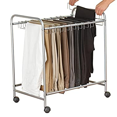 Collections Etc Rolling Pants Trolley Hanging Organizer Rack - Great for Dress Pants, Slacks