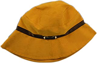 Casual Outdoor Sun Hat Folding Cloth Cap Spring and Summer Women's Leather Buckle Irregular Hat Suede Fisherman Hat (Color : Yellow, Size : M (56-58cm))