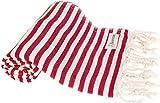 Bersuse 100% Cotton Malibu Turkish Towel, 37X70 Inches, Red