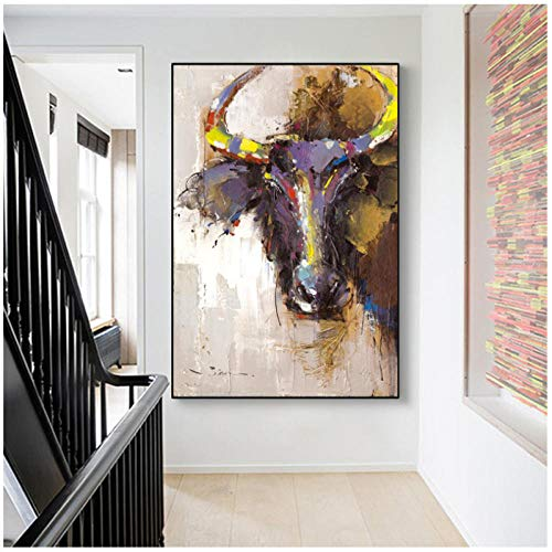 LKLKK Animales Abstractos pintando Carteles e Impresiones sobre Lienzo, Arte de Pared, Cuadros Coloridos de Cabeza de Toro para la decoración de la Sala de Estar 60X90 cm (sin Marco)