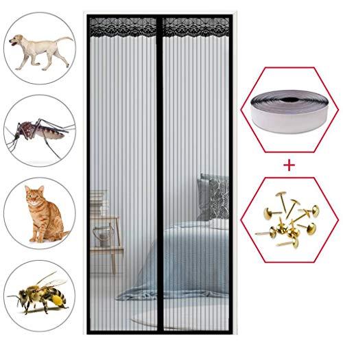 GOUDU Magnet Fliegengitter Tür, Magnetvorhang, Insektenschutz, Frei Magnetisch, für Balkontür Wohnzimmer Terrassentür - Schwarz 70x240cm(28x94inch)