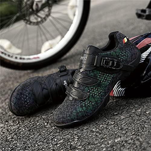 Fahrradschuhe für Männer und Frauen Ohne Lock Road Bike Fahrradschuhe rutschfeste und Verschleißfeste Mountainbike-Schuhe Leuchtende Outdoor-Sportschuhe mit Harten Sohlen,Blue-41