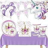 Vajilla Cumpleaños Unicornio,Incluye Platos Vasos Desechable de Cartón,Servilletas,Mantel y Decoración con Globos Guirnalda Banderines Feliz Cumpleaños,para Infantil Niña y Mujer - Color Lavanda