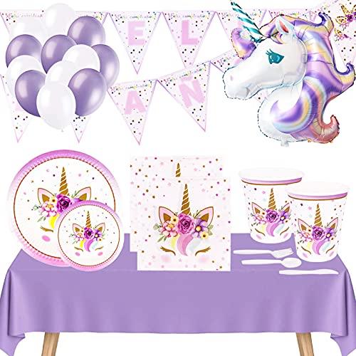 Vajilla Cumpleaños Unicornio,Incluye Platos Vasos Desechable de Cartón,Servilletas,Mantel y Decoración con Globos Guirnalda Banderines Feliz Cumpleaños,para Infantil Niña y Mujer - Color Lavan