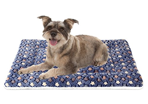 Mora Pets Ultra Soft Pet (Dog/Cat) Bed Mat with Cute Prints | Reversible Fleece Dog Crate Kennel Pad | Machine Washable Pet Bed Liner (24-Inch, Dark Blue) Bed Cat Mats Supplies Top