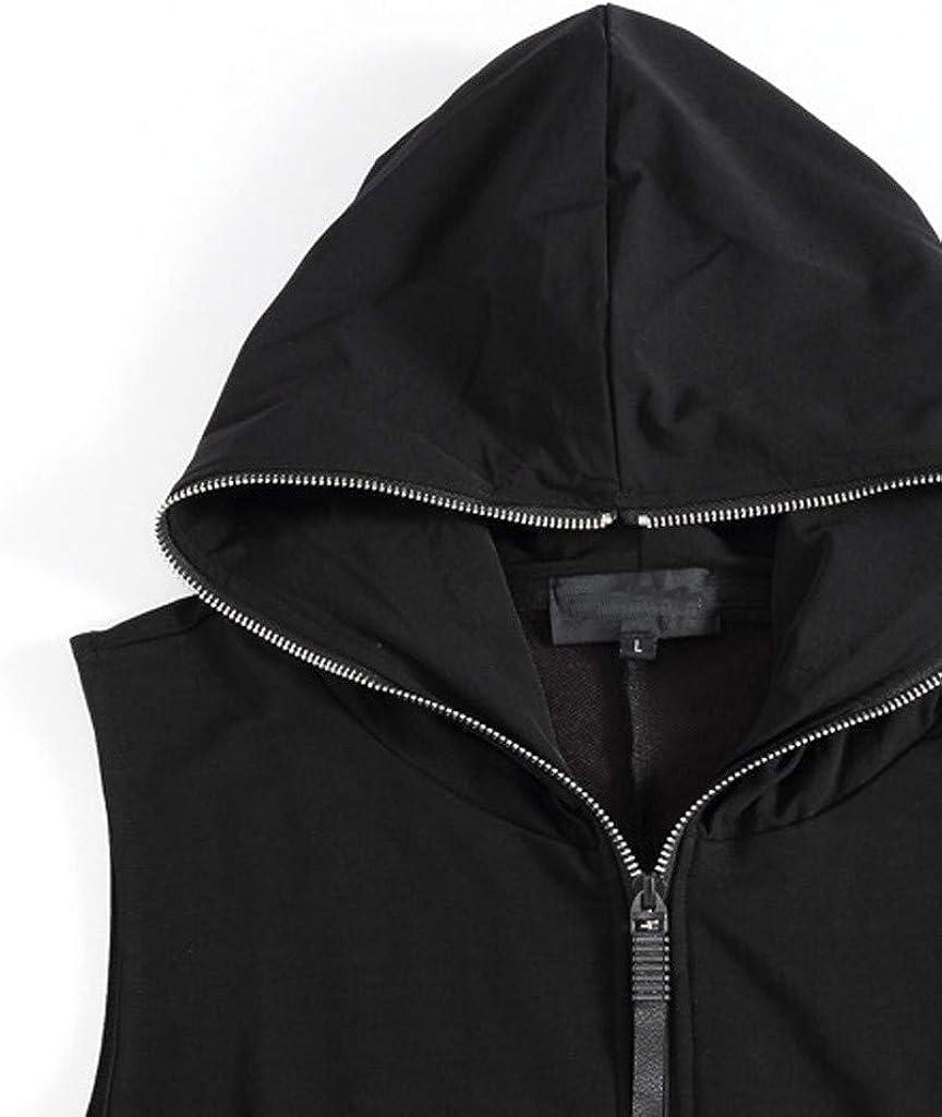 MODOQO Men's Hoodies Jacket Vest Sleeveless Slim Fit Lightweight Outwear Coat