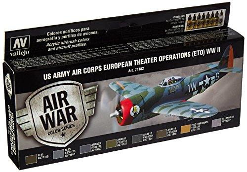 Vallejo 071182 kleurset, USA vliegtuigen WWII, 8x17 ml, ETO-operatie