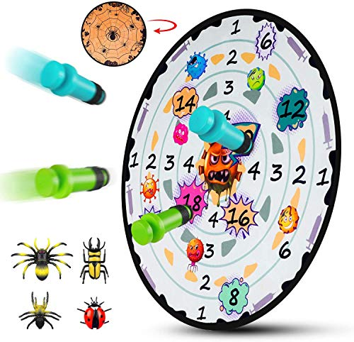 M AOMEIQI Dart Board Games for Kids Safe Dartboard Set 27 Inches 2 in 1 Spider Dartboard Fun Indoor Throwing Game Interactive with 8 Sticky Toys for Boys Girls,Gift for Party Game,Christmas,Birthday