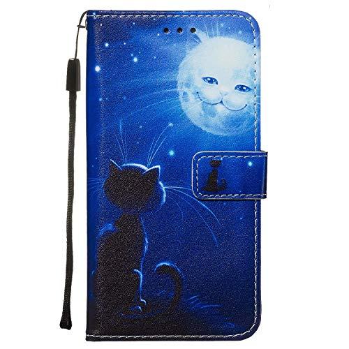 Nadoli Leder Hülle für Huawei P40 Pro,Bunt Katze Sonne Malerei Ultra Dünne Magnetverschluss Standfunktion Handyhülle Tasche Brieftasche Etui Schutzhülle