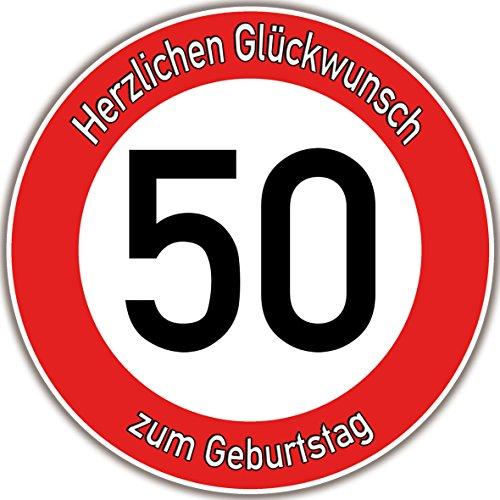 Tortenaufleger Fototorte Tortenbild Warnschild 50. Geburtstag rund 20 cm GB08 (Zuckerpapier)