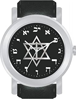 Hebrew Numbers Brushed Chrome Unisex Size Round Watch Has Black Dial with Messianic Star of David and Black Stitched Leather Strap