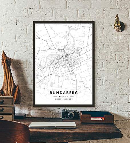 ZWXDMY Leinwand Bild,Australien Bundaberg Stadtplan Schwarze Und Weiße Minimalistische Text Abstrakt Leinwand Poster Malerei Wandbild Cafe Office Home Decor, 40 × 50 cm