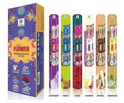 Flor de la serie premium Aroma Sticks - Siente el aroma blossomy - 120 Incienso - Use al Ministerio del Interior - Paquete de 6 palos de fragancias naturales - Incienso Perfumado larga duración