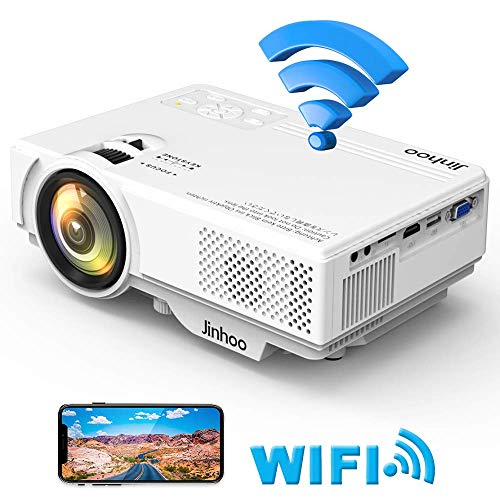 Jinhoo Mini WiFi Video Projector [2020 Latest Update] 4500 Lux, Synchronize Smart Phone Screen, 1080P Supported 55000 Hours Lamp Lifetime, Also Compatible with HDMI, VGA, AV, USB,TF,PS4