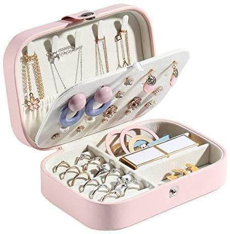 Gymqian Jewelry Box Portable Travel Pu Leather Jewelry Storage Box Organizer Earring Necklace Ring Jewellery Case Packaging Casket Portable