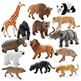 14 Pieces, 4-6 inch Animals Figurines for Kids for Imaginative Play | Wildlife African Safari Animals| Zoo Playset | Educational Toys | with Bonus Storage Bag