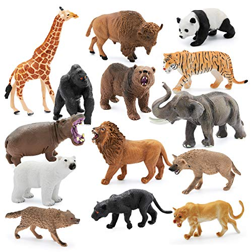 14 Pieces  4-6 inch Animals Figurines for Kids for Imaginative Play | Wildlife African Safari Animals| Zoo Playset | Educational Toys | with Bonus Storage Bag