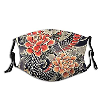 Japanese Snake & Peonies Flower Tattoo-Face Mask Unisex Balaclava Mouth Cover with Filter Windproof Dustproof Adjustable Mask