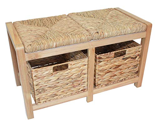 Two Seater Wooden Storage Bench, Hallway or Dining Room Bench with Natural Storage Baskets and Seats HE80