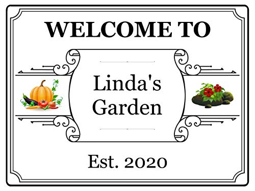 301 Custom Personalised Welcome to Garden Name Metal Aluminium Sign Door Gate Plaque Shed (197x141mm, White)
