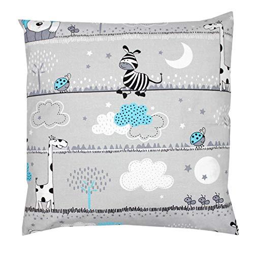 TupTam Funda para Cojin con Diseño Decorativo para Niños, Oso Turquesa, 40 x 40 cm