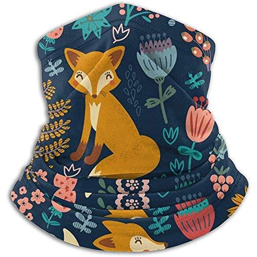 Fox Flowers Birds Neck Warmer Neck Cover Tubo para el cuello sin polvo Antiestático Esquí facial Bufanda Calor Media máscara para hombres Mujeres