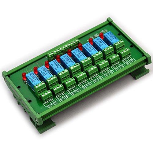 Electronics-Salon DIN Rail Mount 8 DPDT Signal Relay Interface Module. (Operating Voltage: DC 24V)