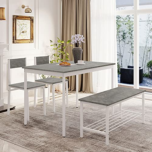 Kitchen Dining Table and Chairs Set of 2 with 1 Bench, Garden Bench Home Furniture Set Dining Room Furniture, Solid Wooden & Sturdy Metal Frame Industrial, Grey