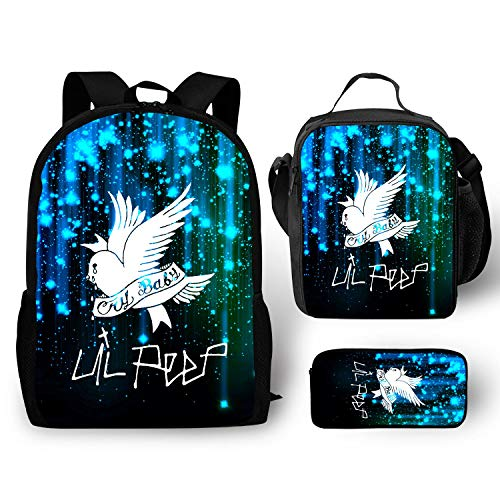 Teens Boys Girls Schoolbag Backpack Casual with Insulated Lunch Box Pencil Case Box 3 Pieces Set Lil-peep Bags