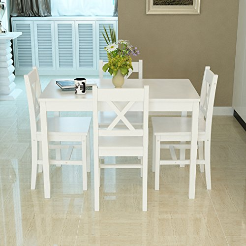 Solid Wood Pine Dining Table Set with 4pcs X Shape Chairs set Kitchen Room Furniture Set (X shape White)