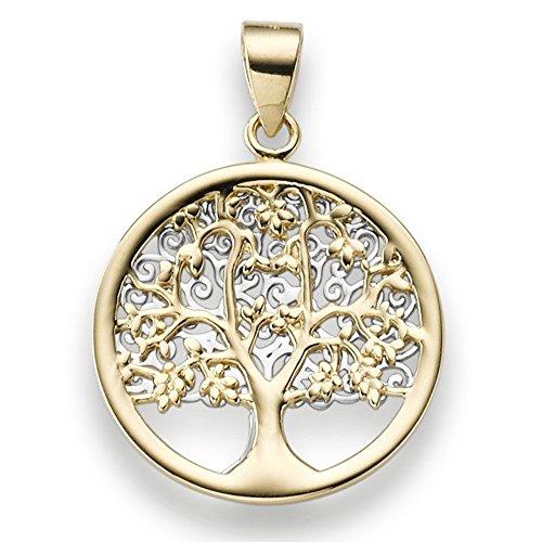 Anhänger Amulett Lebensbaum 585 Gold gelb/weiß bicolor 25x17,5mm nach Motiv von Gustav Klimt