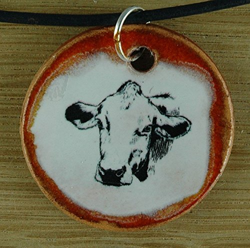 Echtes Kunsthandwerk: Hübscher Keramik Anhänger mit einer Kuh; Tiere, Bauernhof, Landwirt, Bauer, farm, Geschenk, Kette