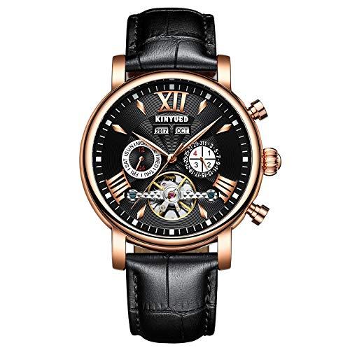 KINYUED reloj de pulsera mecánico de cuero de moda totalmente automático, tiempo de viaje hueco con precisión para hombre